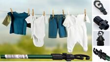 Pack of 3 Extendable Twist-lock Hanging Wash Clothes Prop Line Outdoor Pole 2.4m