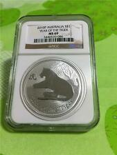2010P AUSTRALIA $1 YEAR OF THE TIGER 1 OZ. .999 SILVER NGC MS 69 WITH SMALL SPOT