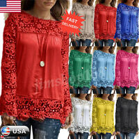 Fashion Women Long Sleeve Shirt Lace Blouse Loose Cotton Tops T Shirt Size Plus
