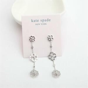 New Kate Spade New York Spade Cubic Zirconia Floral Linear Earrings Silver Tone