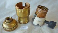 """Lamp Socket Brass """"Hubbell"""" flat paddle Fat Boy Uno (per each)"""
