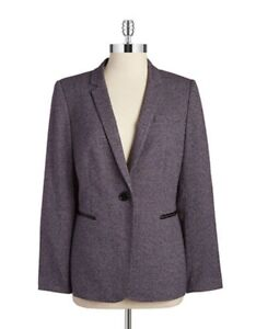 "Tahari ASL Blazer Sz 8 Purple Grey Black ""Jeremy"" Business Dinner Suit Jacket"