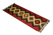 Red Runner Home Decor Kilim Area Floor Rug Jute Wool Hand Knotted Geometric 2X5