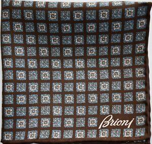 🆕️ NEW Auth BRIONI Printed 100% SILK Pocket Square Pochette Handkerchief