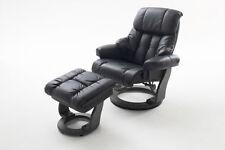 Relaxsessel Sessel Fernsehsessel Hocker Echtleder Leder schwarz neu 34011