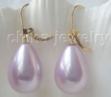 E3117-20mm natural purple south sea shell pearl earring -14k gold filled hook