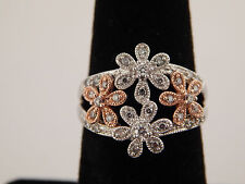 14k Gold Designer Gorgeous Cluster Diamond Ring Flowers .41 tcw Vintage Retro