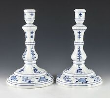 Pair of Meissen Blue Onion Large Porcelain Candlesticks, fluted base. Rare form