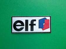 MOTOR RACING OILS, FUELS & TYRES SEW ON / IRON ON PATCH:- ELF (s) BLACK LETTERS