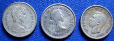 1943 -1965 GEORGE VI, ELISABETH II Canada 25  CENT Silver  COINS KM# 35, 52, 62