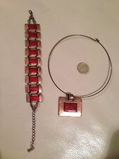 Set of chunky red/copper colour necklace & bracelet