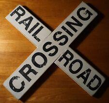 Vintage Style Rustic Wood Railroad Crossing Sign Model Train Engine Room Decor