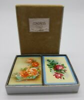 Vintage Congress Playing Cards Rose Flowers Bunch Dual Decks Original Velvet Box