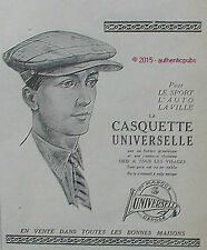 PUBLICITE CASQUETTE UNIVERSELLE POUR AUTO SPORT VILLE DE 1924 FRENCH AD PUB RARE