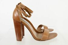 Steve Madden Carrson Brown Leather Open Toe Ankle Strap High Heel Pumps Size 8M