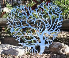 """Living Tree Coral Branch Heart Metal Wall Art Decor Polished Steel 20"""""""