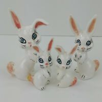 Vintage Cotton Tail Family Rabbit Figurines Hand Painted Ceramic Blue Eyes 63