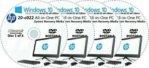 HP All-in-One -  20-c022 Factory Recovery Media 4-Discs Set / Windows 10 64bit