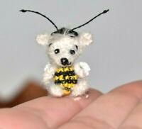 "Miniature Ooak Artist Bee Bear Dollhouse Dolls Toy Micro Teddy Bear Gift 0.8"""
