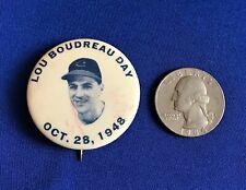 SUPER RARE! 1948 CLEVELAND INDIANS LOU BOUDREAU BASEBALL PIN WORLD SERIES YEAR