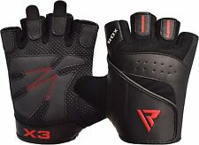 RDX Leather Weight lifting Gloves Gym Training BodyBuilding Fitness Workout S2B