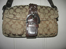Coach 6314 Brown Jacquard Leather SMALL Handbag Purse 6 x 11 x 3.5 USED COND