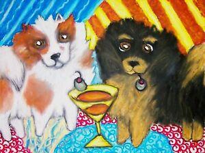 Pomeranian Art Print Signed by Artist Kimberly Helgeson Sams Painting 5x7 Dogs