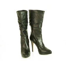 Brian Atwood Black Leather Pull On Calf Booties Boots Heels Shoes size 40