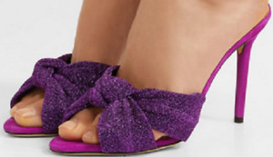 New CHARLOTTE OLYMPIA Lola Purple Knot Textured Lamé Suede Mules Size 37 ($600)