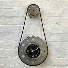 Industrial Retro Silver Real Bike Chain Cog Gear Urban Wall Mounted Clock Large