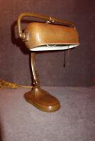 Antique HANDEL Desk Lamp - No. 6010-1/2 Brown - Mosserine Chipped Ice Vintage