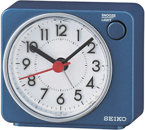 Seiko Alarm Clock Travel Quartz Quiet Output Blue QHE100E