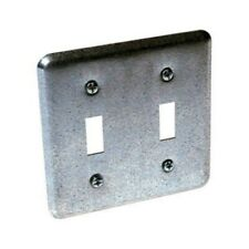 Hubbell-Raco 871 Square Switch Box Wall Plate with (2) Toggle Switch, 4-Inch