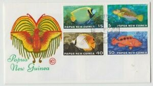Stamps Papua New Guinea 1976 fish set of 4 WCS Wesley green text cachet FDC nice