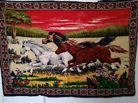 Vintage 70s Velvet Tapestry Western Horses Wall Hanging Decor Rug HUGE 39 x 57