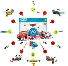 Disney Cars Tick Tock Teller Vinyl Wall Clock With Stickers Room Decor