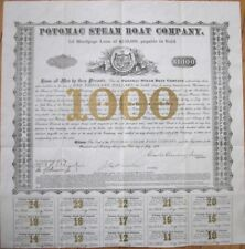 1878 $1000 Gold Bond Certificate: 'Potomac Steam Boat Company' - Virginia
