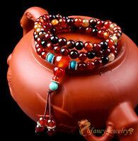 Chinese Tibetan Agate Turquoise Buddhist 108 Prayer Beads Mala Bracelet Necklace