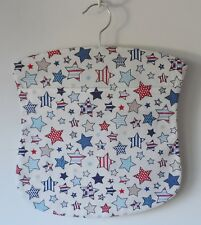 Handmade peg bag. Wooden hanger. Cotton fabric with a star print.