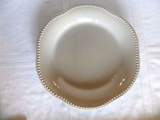 "POTTERY BARN TAUPE Round Platter EMMA 13"" Beaded Scalloped Trim PORTUGAL"
