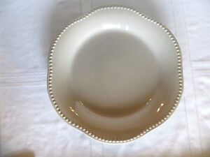 """POTTERY BARN TAUPE Round Platter EMMA 13"""" Beaded Scalloped Trim PORTUGAL"""