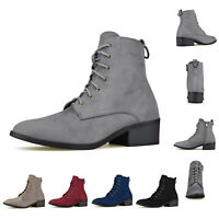 Women's Almond Toe Lace Up Side Zip Combat Boots Low Chunky Heel Ankle Booties