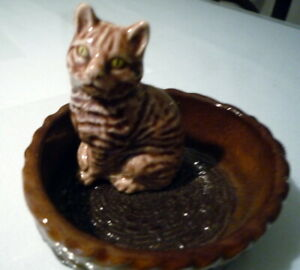WADE Cat in Basket Dish Tabby Cat Green Eyes Whimsies Porcelain UK MINT