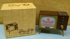 Brand New Bakelite Tiny T-V Photo Holder / Salt & Pepper Set