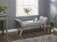 Fabric Grey Bench Window Seat Upholstered Deep Button Modern Chair Wooden Legs
