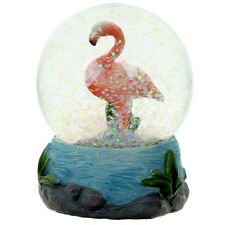 Pink flamingo tropical snow glow water ball snow storm ornament
