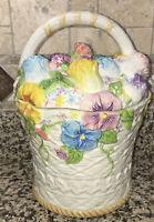 GKA BRAND Flower Floral Basket Cookie Jar Ceramic Canister Pansies White w/Multi