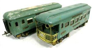 Ives 185 & 186 Observation Passenger Cars Prewar Vintage Model Train Hobby B45-6
