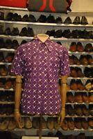 Konsument Herrenoberhemd lila gemustert DDR TRUE VINTAGE Herren Hemd 70s shirt
