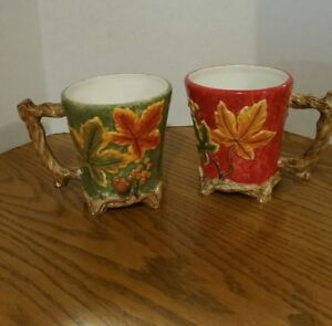 ceramic Coffee mug Handmade With Vines And Leaves